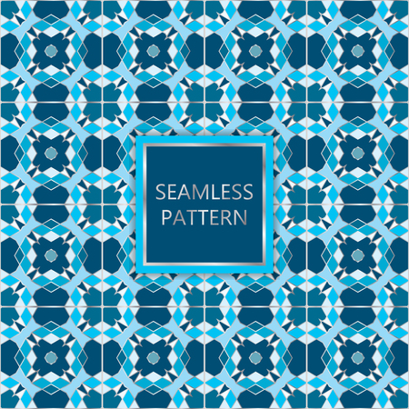 insertion: Blue seamless pattern with silver inserts. Ornamental, mosaic vector background. Suitable for textile, tile, slab, fashion, stained-glass window, vitrage.