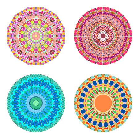 Floral emblems, round decorative ornaments isolated on white, bright colorful mandala patterns set, eastern, islamic, muslim, indian circular symbols collection.