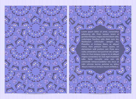 A4 size cards decorated with mandala in blue color with golden inserts. Vector template in eastern, oriental style for restaurant menu, flyer, greeting card, brochure, book cover.