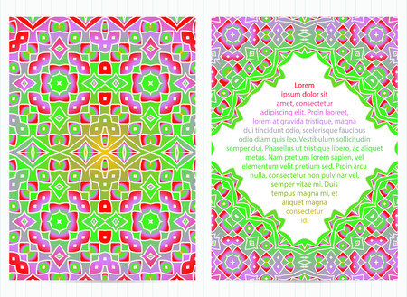 A4 size bright colorful mosaic cards set. Vector business template in eastern, oriental style for restaurant menu, flyer, greeting card, brochure, book cover.