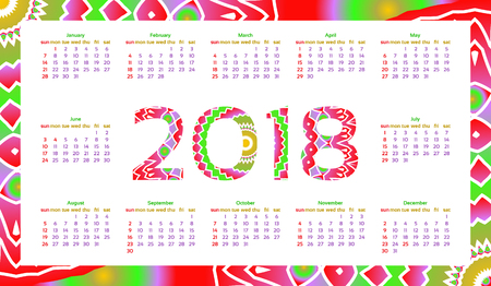 2018 year calendar template decorative colorful frame multicolored calendar design vector illustration