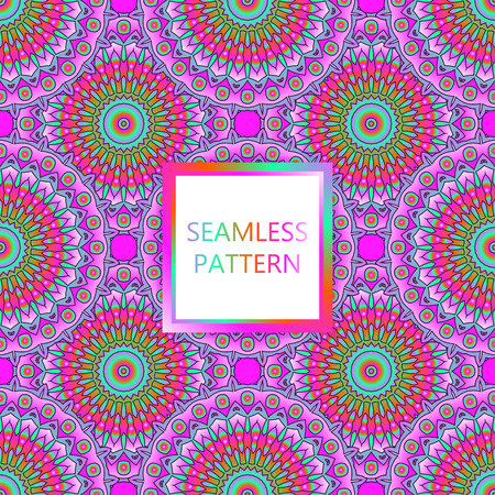 Seamless pattern design. Mandala round elements. Ethnic colorful background. For textile, print, carpet, wallpaper, package.