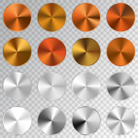Conic metallic gradients set, cooper, golden, bronze, silver texture collection, shine, glowing objects. Transparent background. Vector illustration. Çizim
