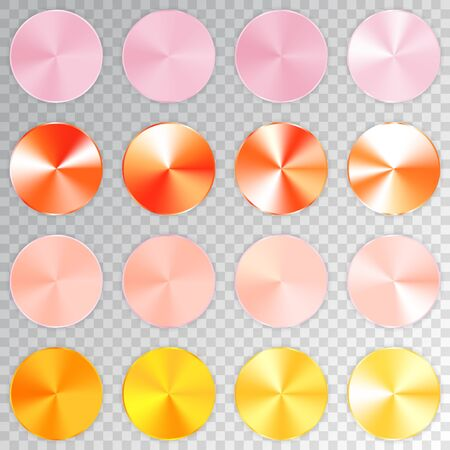 Conic metallic gradients set, pink, orange, peachy, yellow texture collection, shine, glowing objects. Transparent background. Vector illustration. Stok Fotoğraf - 83107510