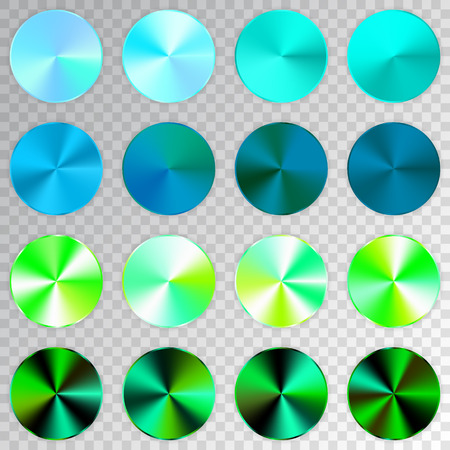 Conic gradients set, blue, green, aquamarine texture collection, shine, glowing objects. Transparent background. Vector illustration. Illustration