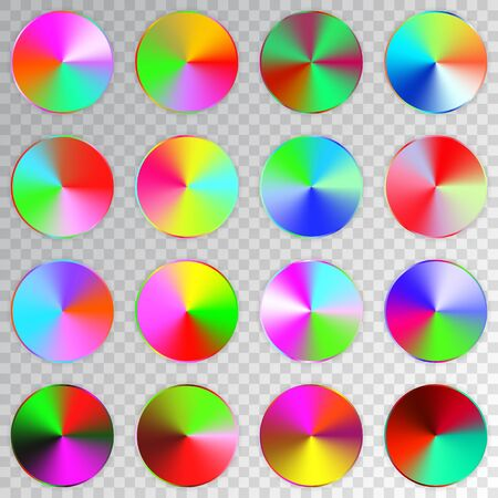 Conic gradients set, colorful texture collection, shine, glowing objects. Transparent background. Vector illustration. Çizim