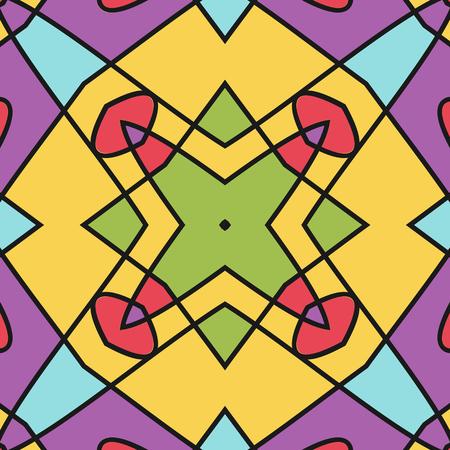 Kleurrijke naadloze geometrische patroon. Sier, mozaïek vector achtergrond. Geschikt voor textiel, tegel, mode, verpakking. Vector Illustratie