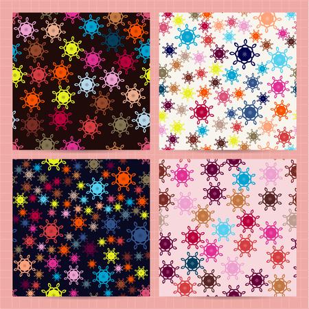 Set van vierkante kaarten met naadloze patronen met abstracte kleurrijke elementen. Eenvoudig, minimaal ontwerp. Vector zakelijke sjablonen voor flyer, kaart, brochure, dekking, textiel.
