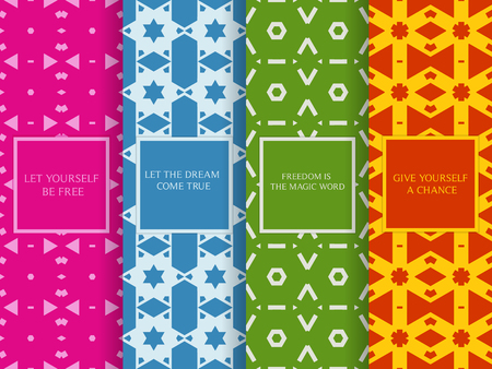 Set of seamless patterns. Collection of colorful vector backgrounds. Abstract geometric design. Decorative frames. Green, orange, blue, pink, colors.