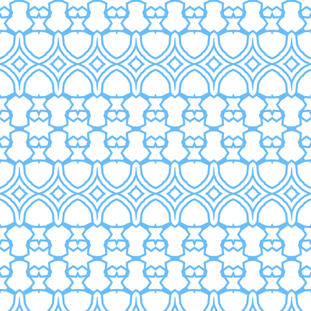Seamless border isolated on white. Decorative tileable blue ornament . Vector illustration.