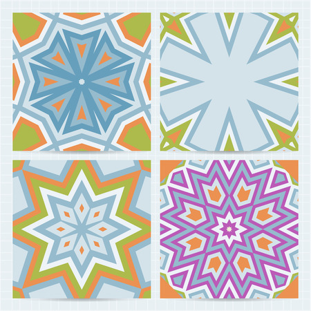 Set of square cards with seamless patterns, colorful geometric backgrounds. Vector business templates for flyer, card, brochure, cover, textile.