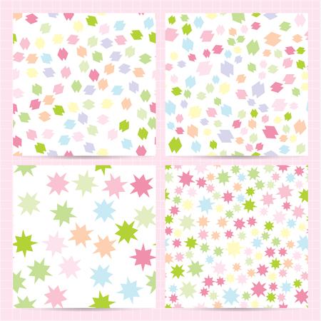 Set van vierkante kaarten met naadloze patronen met willekeurige abstracte kleurrijke elementen. Bleke kleuren achtergrond. Vector zakelijke sjablonen voor flyer, kaart, brochure, dekking, textiel. Vector Illustratie