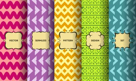 Set of seamless patterns. Collection of bright colorful vector backgrounds and vintage labels. Vector illustration