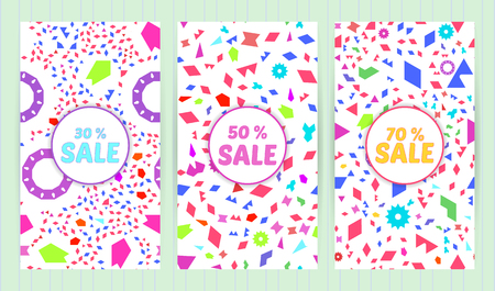 Sale templates, discount banner with rando, chaotic, scattered geometric elements, colorful background. Vector illustration