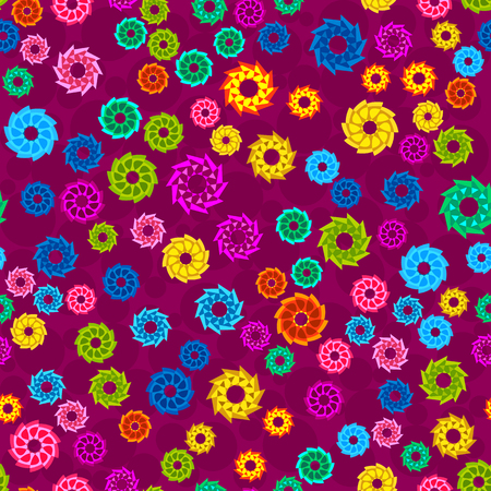 fashon: Seamless pattern with abstract colorful flowers, random, chaotic, scattered floral elements. Bright multicolored background. Vector illustration.