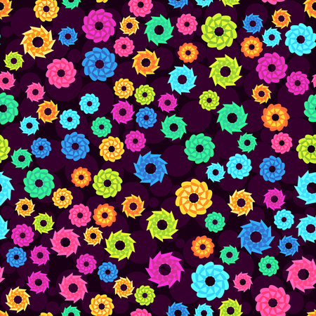 Seamless pattern with abstract colorful flowers, random, chaotic, scattered floral elements. Bright multicolored background. Vector illustration.