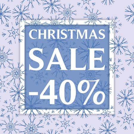 Christmas sale template, discount banner, snowflakes winer background. Vector illustration Stock Vector - 85506126