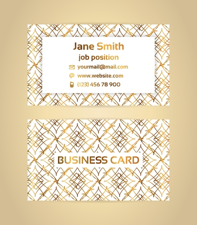Two sided business card with golden, metallic decoration on white background. Illustration