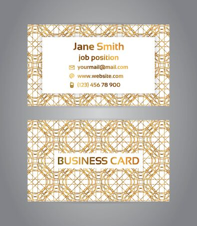 Two sided business card with golden, metallic decoration
