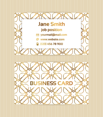 Two sided business card with golden, metallic decoration on white background.Vector template for business, invitation, wedding, banner , flyer or greeting cards.