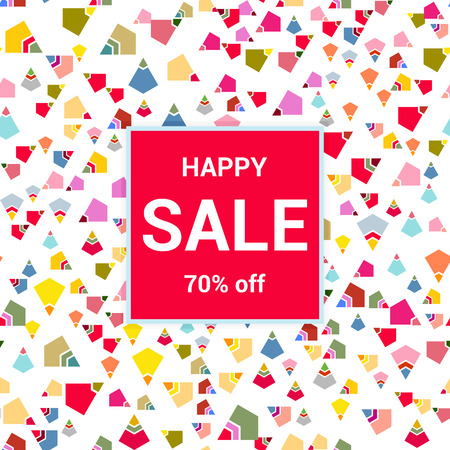 Sale template, discount banner on bright colorful background, random, chaotic, scattered geometric elements. Vector illustration