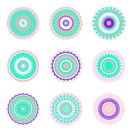 Floral emblems, round decorative ornaments isolated on white, bright colorful mandala patterns set, eastern, islamic, muslim, japanese, indian circular symbols collection. Illustration