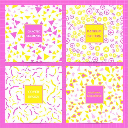 Set di copertine quadrate con elementi geometrici casuali, caotici e sparsi. Sfondi vettoriali, modelli di business per flyer, carta, brochure, pacchetto, cartello.