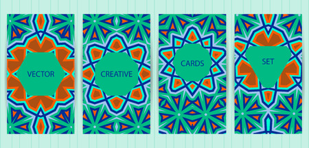 blank magazine: Cards with geometric, ethnic design. Bright colorful templates set. Vector backgrounds for restaurant menu, flyer, business card, brochure, banner, placard etc.