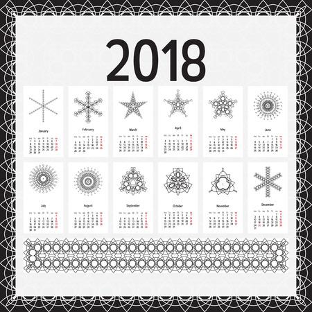 2018 year calendar template. Ilustração