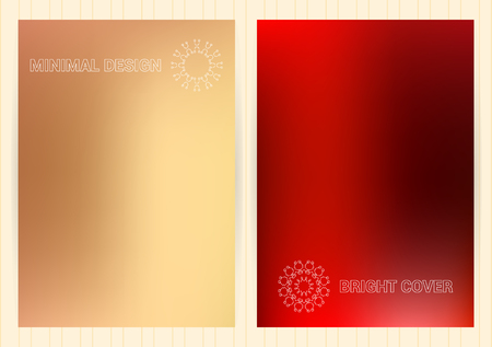 Covers with holographic gradient. Fluid color background. Bright, simple, minimalistic vector templates with emblems for business card, flyier, plackard,banner, brochure, wallpaper. Illustration