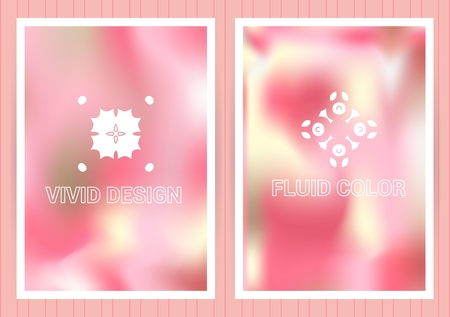 Covers with holographic gradient. Fluid color background. Bright colorful vector templates with emblems for business card, flyier, plackard,banner, brochure, wallpaper. Illustration