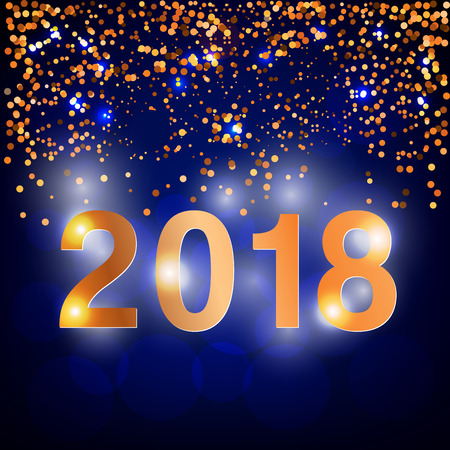 2018 year illustration, bokeh dark blue background with golden decoration