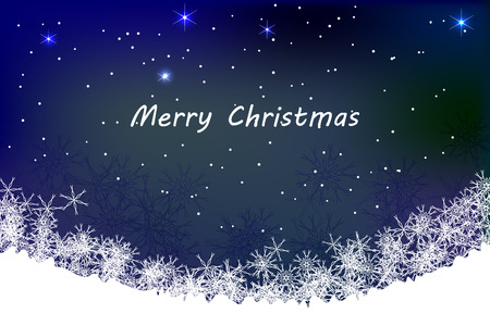 Merry Christmas illustration with abstract snow and snow and snowflakes on dark blue background