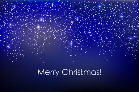 Merry Christmas illustration with falling down string lights, circle confetti, festoon, garland, tinsel ribbon, vertical spangels, sparkle dots on dark blue background.