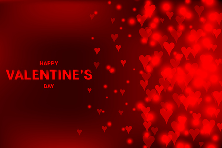 Red background with flowing defocused blurred heart. happy Valentine s day vector illustration  イラスト・ベクター素材