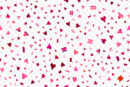 Falling red hearts isolated on transparent pattern.