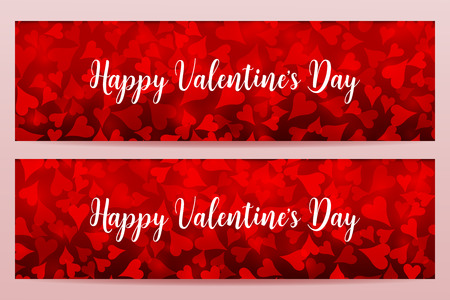 Happy Valentines Day banners with defocused chaotic blurred hearts. Red color.