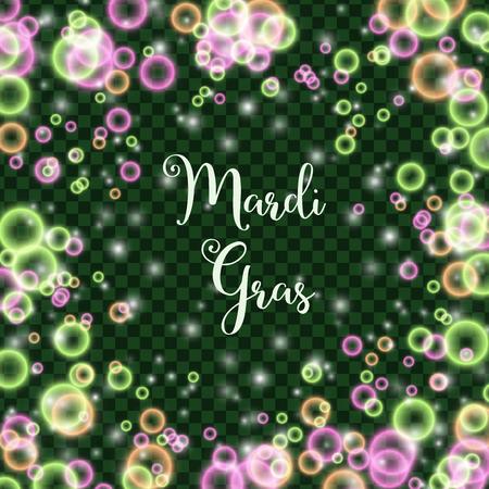 Mardi Gras colors on transparent pattern design.