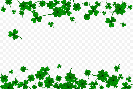 Saint Particks Day with falling shamrocks on transparent background. St.Patricks vector card with clovers in green color. Vector illustration. Çizim