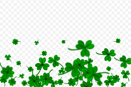 Saint Patricks Day with falling shamrocks on transparent background. St. Patricks vector card with clovers in green color illustration. Çizim