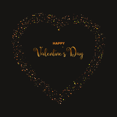 Happy Valentine's day illustration with golden glitter effect on black background