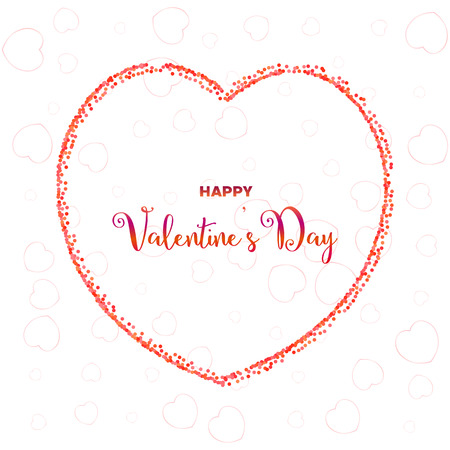 Happy Valentines day illustration with dots on white background