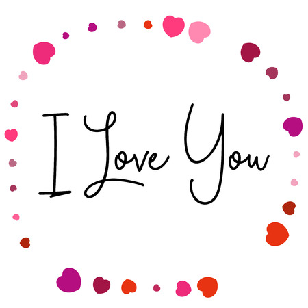 I Love You lettering with circle of hearts on white background.