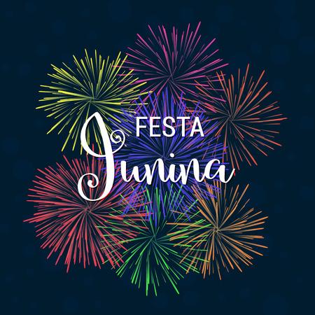 Festa Junina june Brazil festival vector background with fireworks in Brazil flag colors