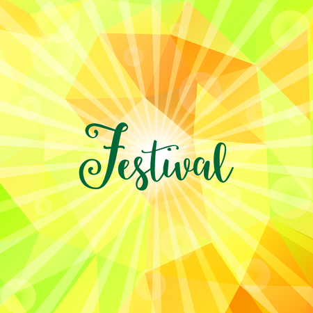 Bright colorful, festive background with triangles, rays and bokeh lights. Festival text.