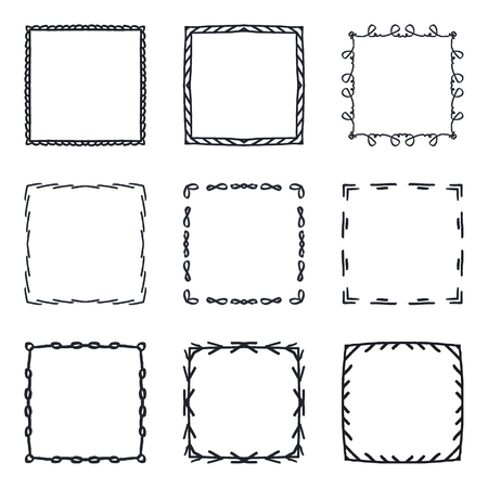 set of hand drawn decorative square frames and borders mono