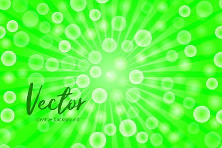 Vector background with random, chaotic, scattered bokeh circles, rays and green color.