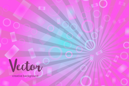 Vector background with random, chaotic, scattered bokeh circles, rectangles, rays and bright pink and violet colors.