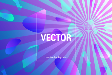 Vector colorful background with dynamic shapes and rays in trendy colors.