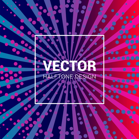 Vector colorful background with halftone pattern and rays in trendy colors. 版權商用圖片 - 115019970